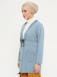 Blue - Unlined - Point Collar - Denim - - Jacket