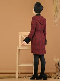 Maroon - Plaid - Unlined -  - Jacket