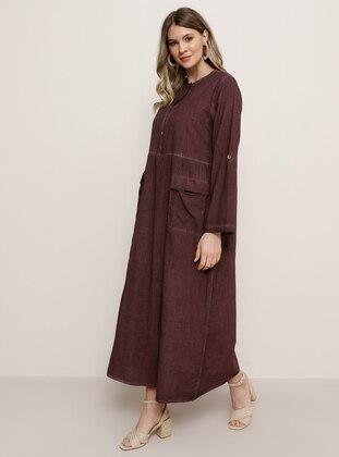 Purple - Unlined - Crew neck - Plus Size Dress