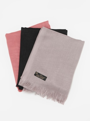 Black - Onion Skin - Mink - Plain - Pashmina - Viscose - Shawl