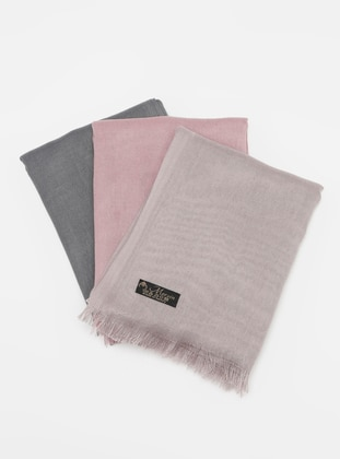 Anthracite - Dusty Rose - Mink - Plain - Pashmina - Viscose - Shawl
