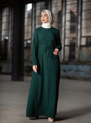 Bead Detailed Dress - Emerald Green