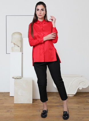 Red - Point Collar - Viscose - Blouses