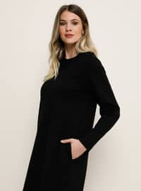 Astarsız kumaş - Yuvarlak yakalı - Büyük Beden Elbise