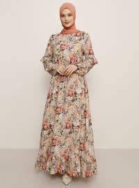 Pudra - Çiçekli - Yuvarlak yakalı - Astarsız kumaş - Viskon - Elbise