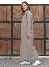 Vizon - Çizgili - Fransız yakası - Astarsız kumaş - - Elbise