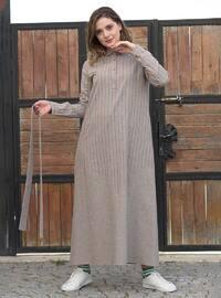 Vizon - Çizgili - Fransız yakası - Astarsız - - Elbise