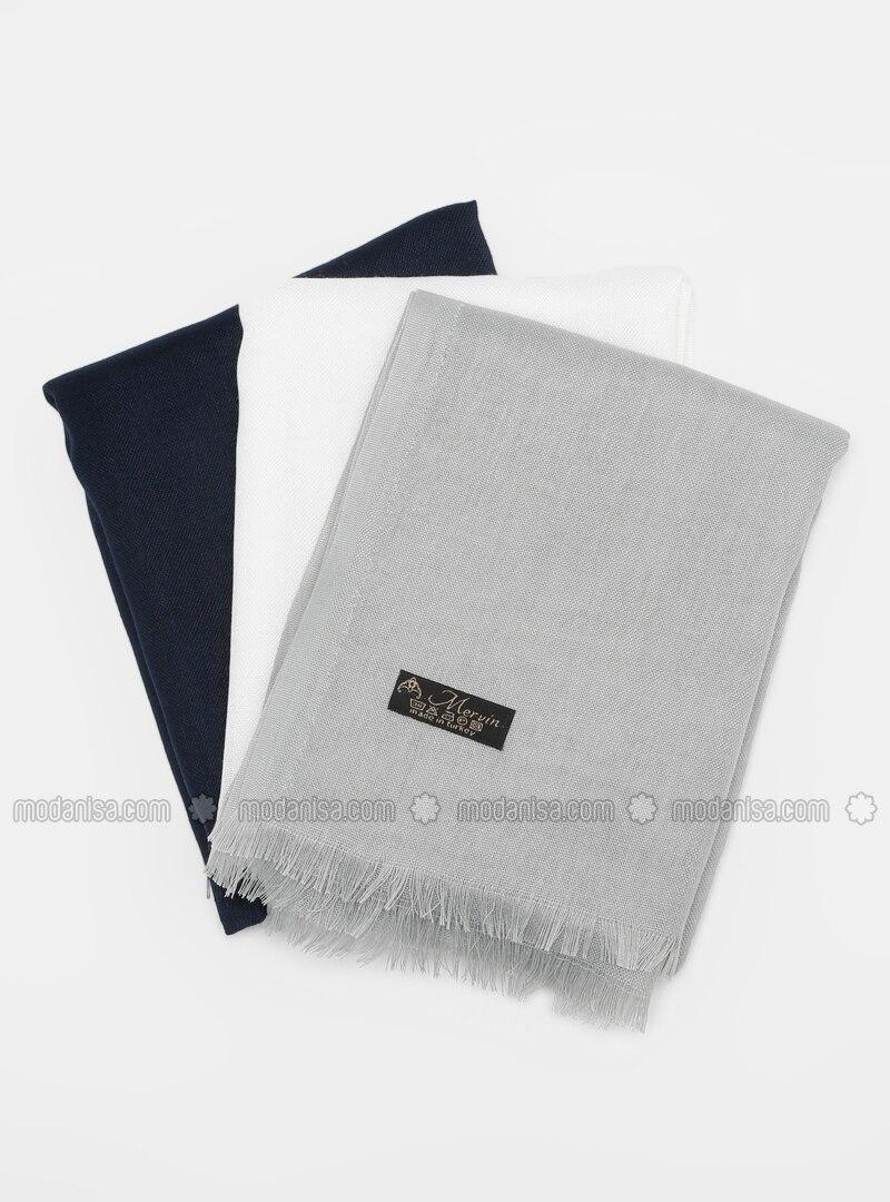 White - Navy Blue - Green - Plain - Pashmina - Viscose - Shawl