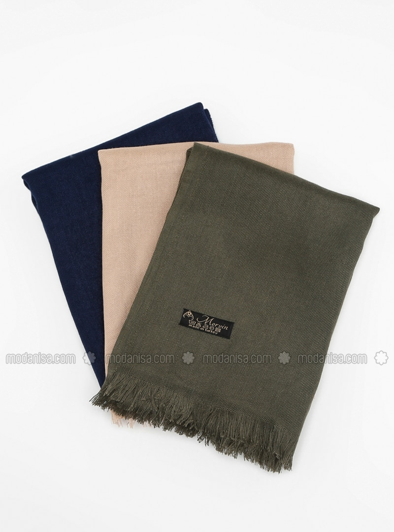 Khaki - Navy Blue - Plain - Pashmina - Viscose - Shawl