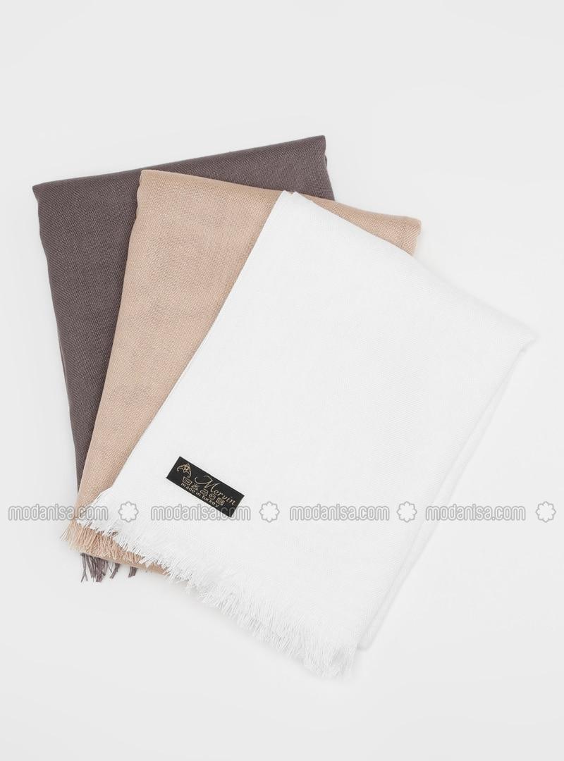 White - Mink - Plain - Pashmina - Viscose - Shawl