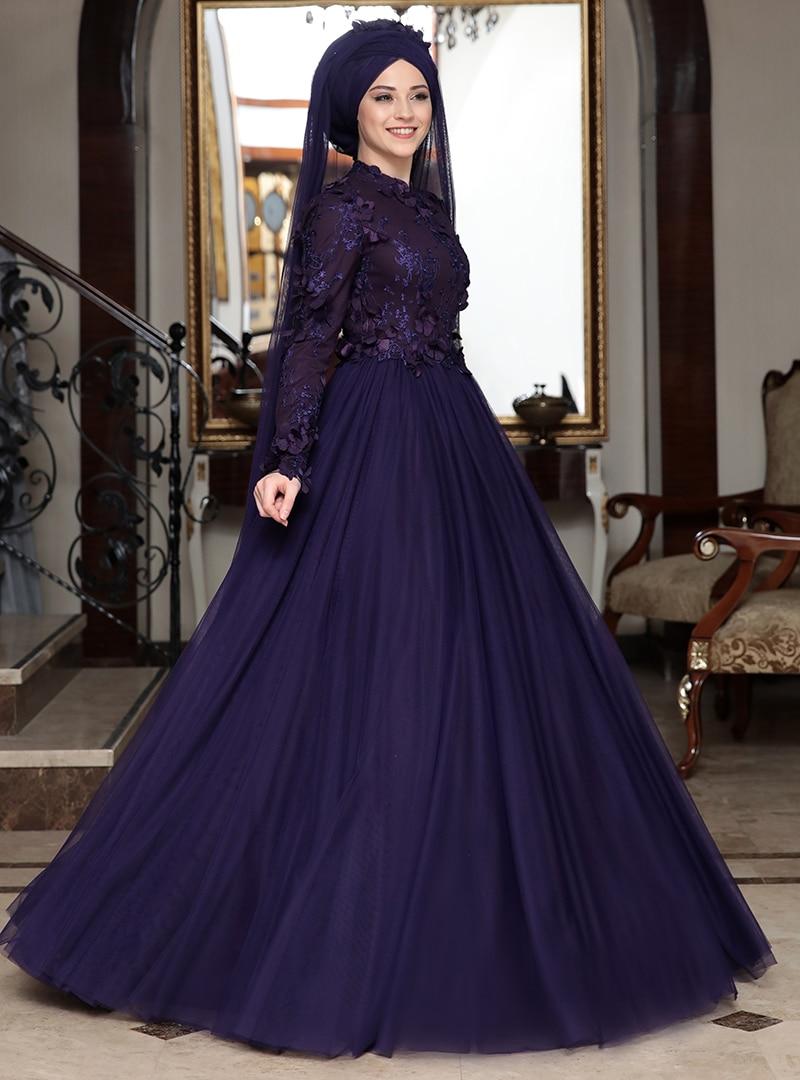 Tesettür Büyük Beden Abiye Elbise Al-Marah Mürdüm Kadın 48