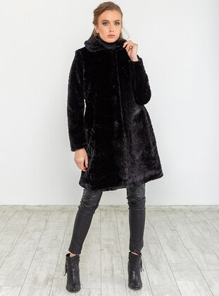 Black - Fully Lined - Round Collar - Coat
