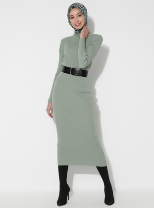 Green Almond - Polo neck - Unlined - Acrylic -  - Dress