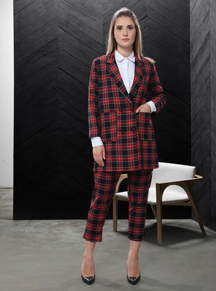 Red - Plaid - Fully Lined - Shawl Collar -  - Jacket