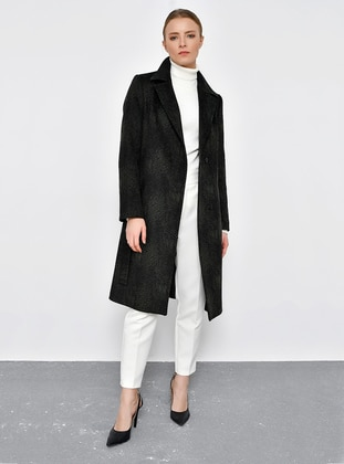 Green - Fully Lined - Point Collar - Viscose - Coat