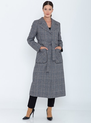 Black - Fully Lined - Point Collar - Acrylic -  - Wool Blend - Coat