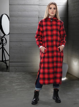 Red - Plaid - Unlined - - Trench Coat