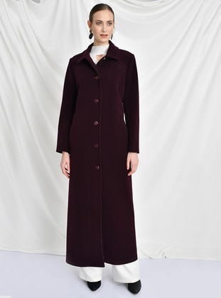 Plum - Fully Lined - Round Collar -  - Wool Blend - Coat