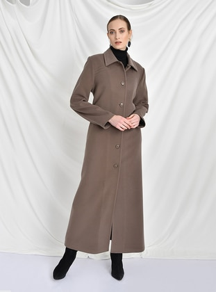 Mink - Fully Lined - Round Collar -  - Wool Blend - Coat