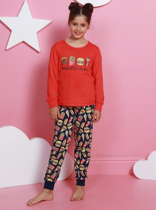 Crew neck -  - Unlined - Coral - Girls` Pyjamas - VIENETTA