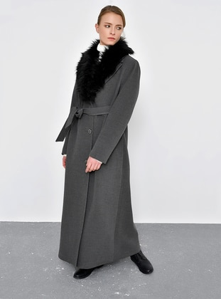 Gray - Fully Lined - Point Collar - Viscose - Coat