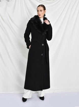 Black - Fully Lined - Point Collar - Viscose - Coat