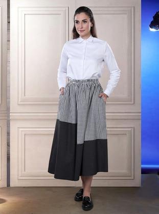 White - Black - Unlined -  - Skirt