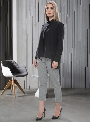 White - Black - Viscose - Pants