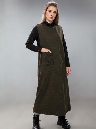 Black - V neck Collar - Unlined -  - Dress