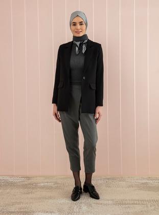 Gray - Viscose - Pants