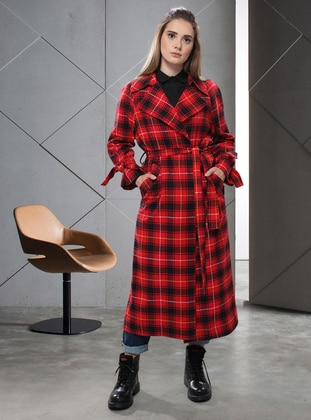 Red - Plaid - Unlined - Shawl Collar -  - Trench Coat