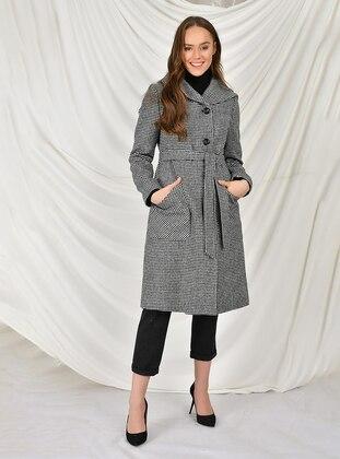 White - Black - Fully Lined - Acrylic -  - Wool Blend - Coat