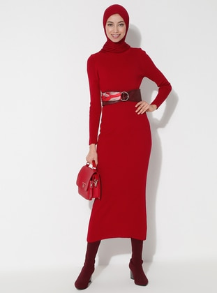 Red - Crew neck - Unlined - Acrylic -  - Dress
