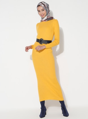 Yellow - Crew neck - Unlined - Acrylic -  - Dress