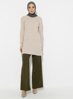 Khaki - Acrylic -  - Pants
