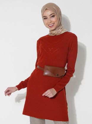 Tan - Polo neck - Acrylic -  - Tunic