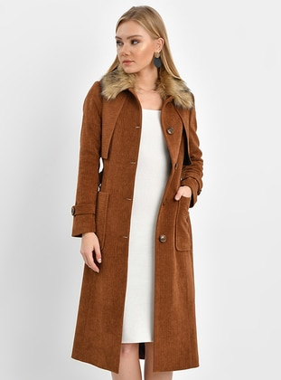 Tan - Fully Lined - Round Collar - Topcoat