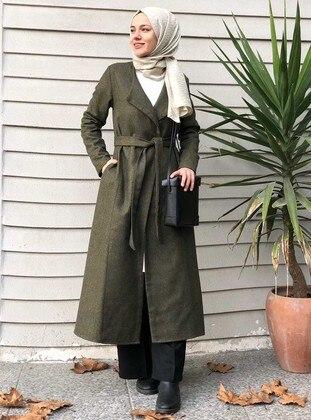 Green - Unlined - Shawl Collar -  - Wool Blend - Coat