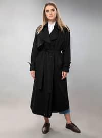 Black - Fully Lined - Shawl Collar - Viscose - Trench Coat