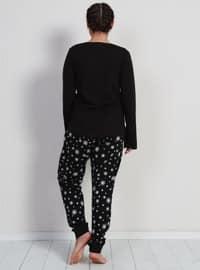 Black - Crew neck -  - Pyjama Set