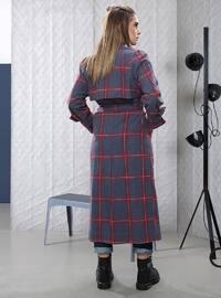 Gray - Stripe - Unlined - Shawl Collar - - Trench Coat
