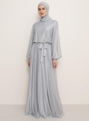 Gray - Crew neck - Muslim Evening Dress