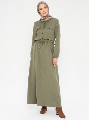Khaki - Point Collar - Unlined - Dress