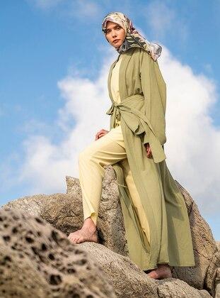 Khaki - Unlined - Shawl Collar -  - Viscose - Abaya