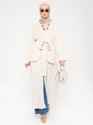 Cream - Unlined - Shawl Collar -  - Viscose - Abaya