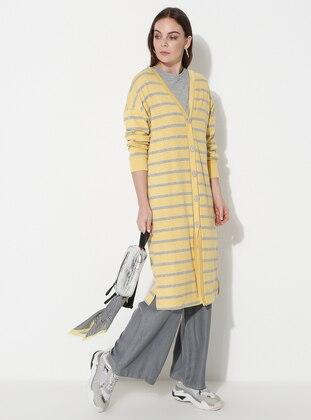 Gray - Yellow - Stripe - V neck Collar -  - Cardigan