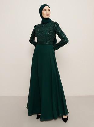 Emerald - Crew neck - Muslim Evening Dress