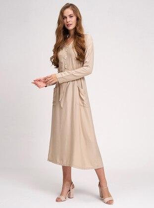 Beige - V neck Collar - Unlined -  - Dress