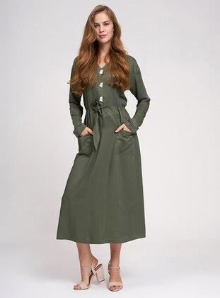 Khaki - V neck Collar - Unlined -  - Dress