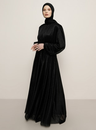 Black - Crew neck - Muslim Evening Dress - Benin